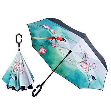 Paraguas invertido a prueba de viento plegable del paraguas del revés para las mujeres Doble capa