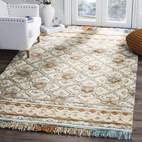 Safavieh BLM420B-8 Blossom Collection Floral Vines Premium Wool Area Rug, 8' x 10', Ivory/Blue