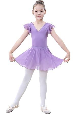 ZOEREA Vestido de Ballet Maillot de Danza para Niña Leotardo Body de Gimnasia con Gasa Manga Corta + Tutú Falda + Medias Conjunto Ballet Niñas