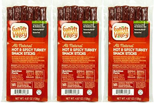 Garrett Valley, Hot and Spicy Turkey Snack Meat Sticks, 4.87 oz