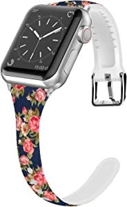 Lwsengme Compatible for Apple Watch Band 38MM 40MM 42MM 44MM, Silicone Slim Women iWatch Bands Wristband Compatible for Apple Watch Series 4 3 2 1 (Blue Rose, 38MM/40MM)