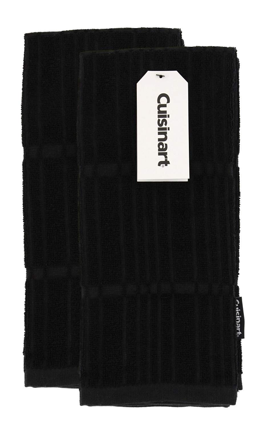 "Cuisinart Bamboo Dish Towel Set-Kitchen and Hand Towels for Drying Dishes / Hands - Absorbent, Soft and Anti-Microbial-Premium Bamboo / Cotton Blend, 2 Pack, 16 x 26"", Jet Black, Bark-Effect Design"