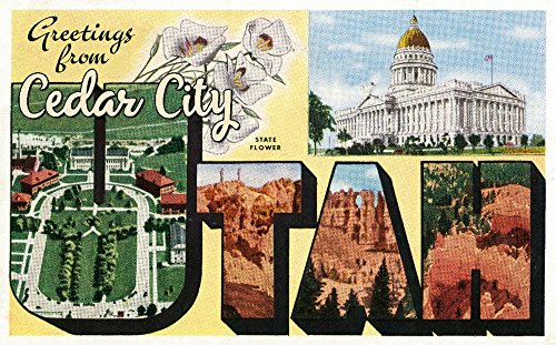 Greetings from Cedar City, Utah - Large Letters Vintage Postcard (24x36 SIGNED Print Master Giclee Print w/Certificate of Authenticity - Wall Decor Travel ()