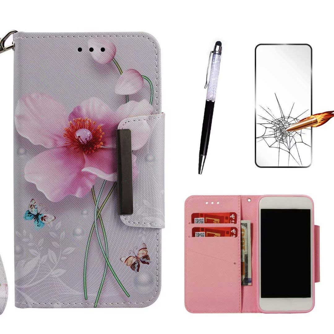 LG Stylo 4 Case/LG Q Stylus Case,MISSDU Cover,Flip Folio Protective Credit  Card Leather Cover Shockproof +Tempered Glass Screen Protector+Touchscreen