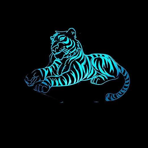 Luziang Led lampara Infantil luz,Voltios Tigre luz de Noche 3D ...
