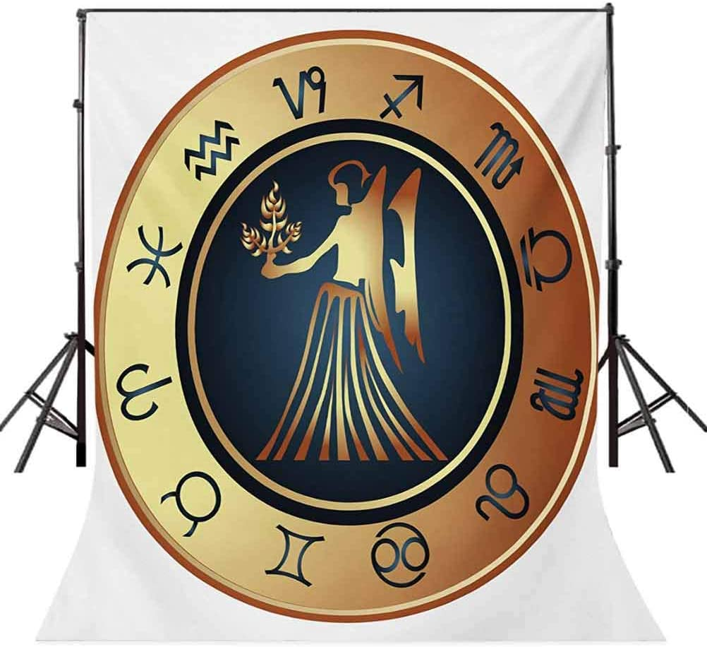 Circle with Twelve Sign and Fantasy Woman Holding Wheat Background for Baby Shower Birthday Wedding Bridal Shower Party Decoration Photo Studio Zodiac Virgo 10x15 FT Photography Backdrop