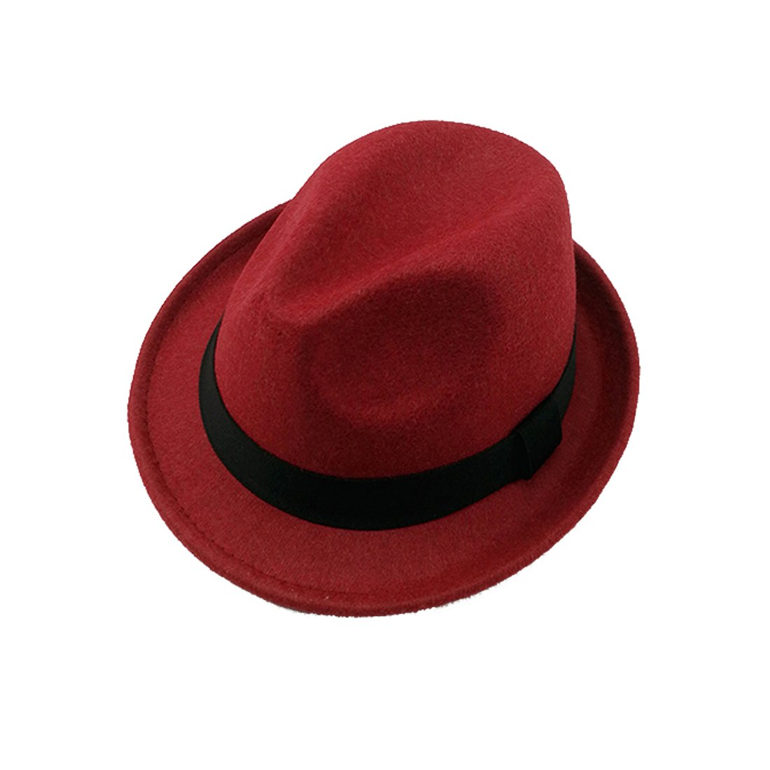 Leisure Short Brim Classic Solid Color Black Band Jazz Soft Wool Blend Fedora Hat Winter
