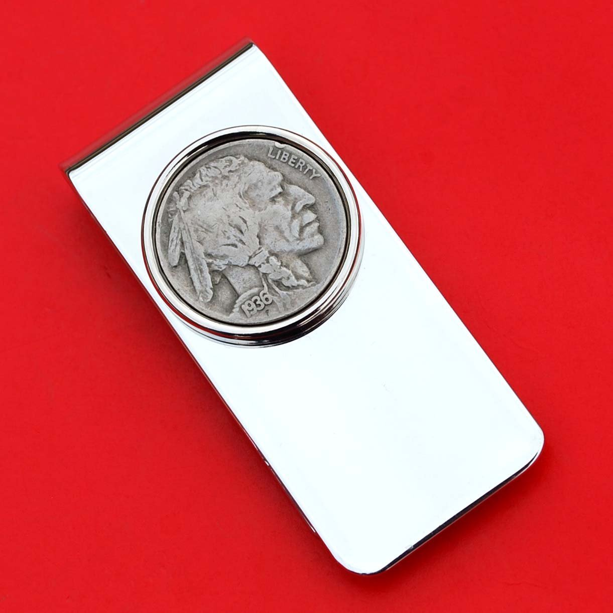High Quality US 1936 Indian Head Buffalo Nickel 5 Cent Coin Solid Brass Silver Plated Money Clip New