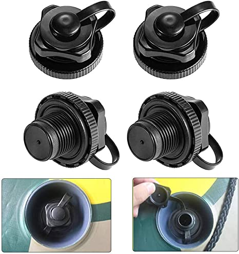 22mm Durable Black Plastic Inflatable Boat Kayak Replacement Air Valve Adapter