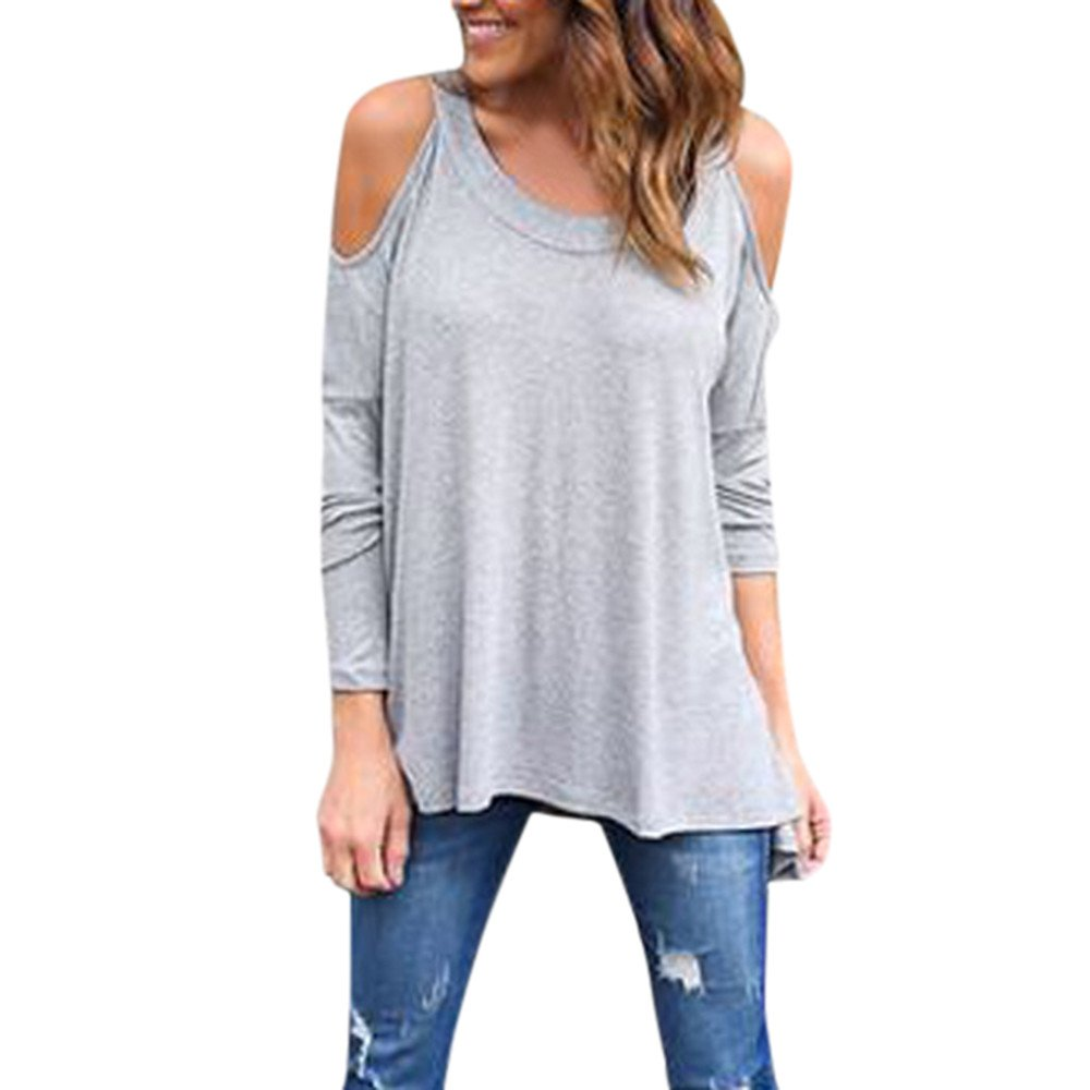 rocicaS Clearance Women's Long Sleeve Fashion Solid Off Shoulder O-Neck Loose Casual Shirts Blouses Tops Pullover S-XL