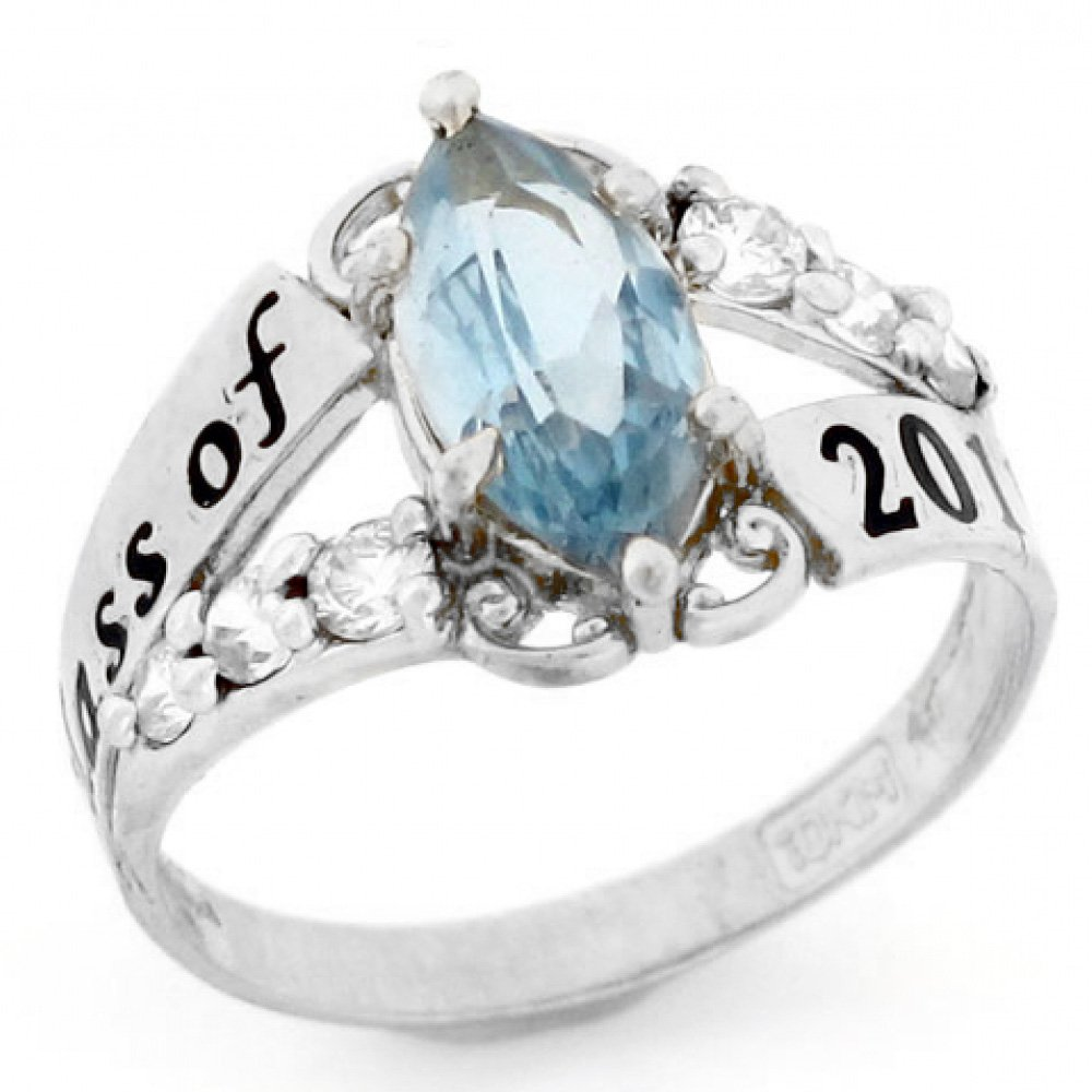 10k White Gold Simulated March Birthstone Class of 2019 Graduation Ring