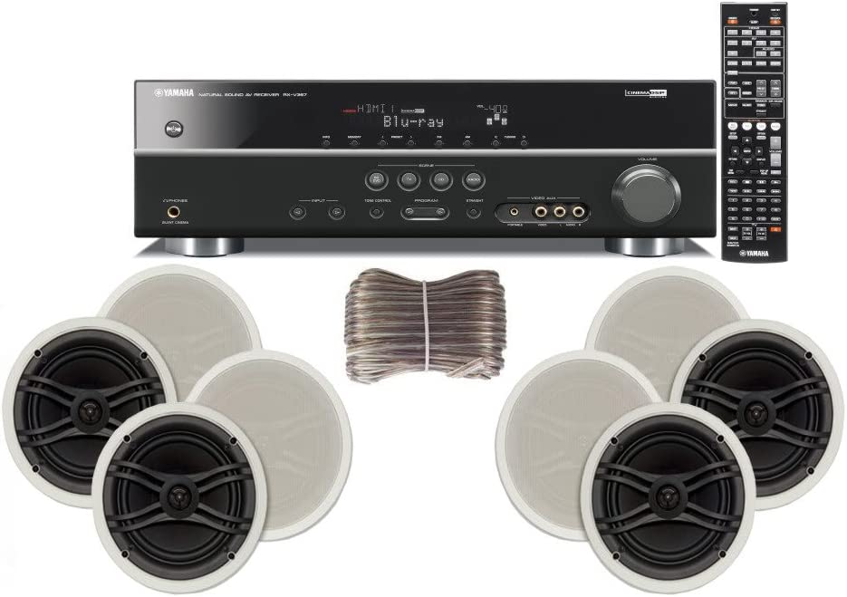Yamaha 3D-Ready 5.1-Channel 500 Watts Digital Home Theater Audio/Video Receiver with 1080p-compatible HDMI repeater & Upgraded CINEMA DSP + Yamaha Custom Easy-to-install Natural Sound In-Ceiling Flush Mount 3-Way 120 watt Speakers (Set of 4) with Dual