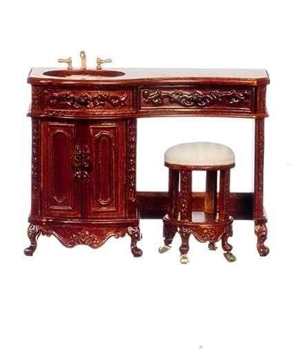 Fine Amazon Com Dollhouse Miniature Avalon Vanity And Stool Dailytribune Chair Design For Home Dailytribuneorg