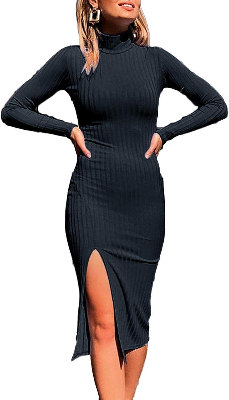 Women V-neck Ribbed Knit Long Sleeve Slim Bodycon Ladies Jumper Party Midi Dress