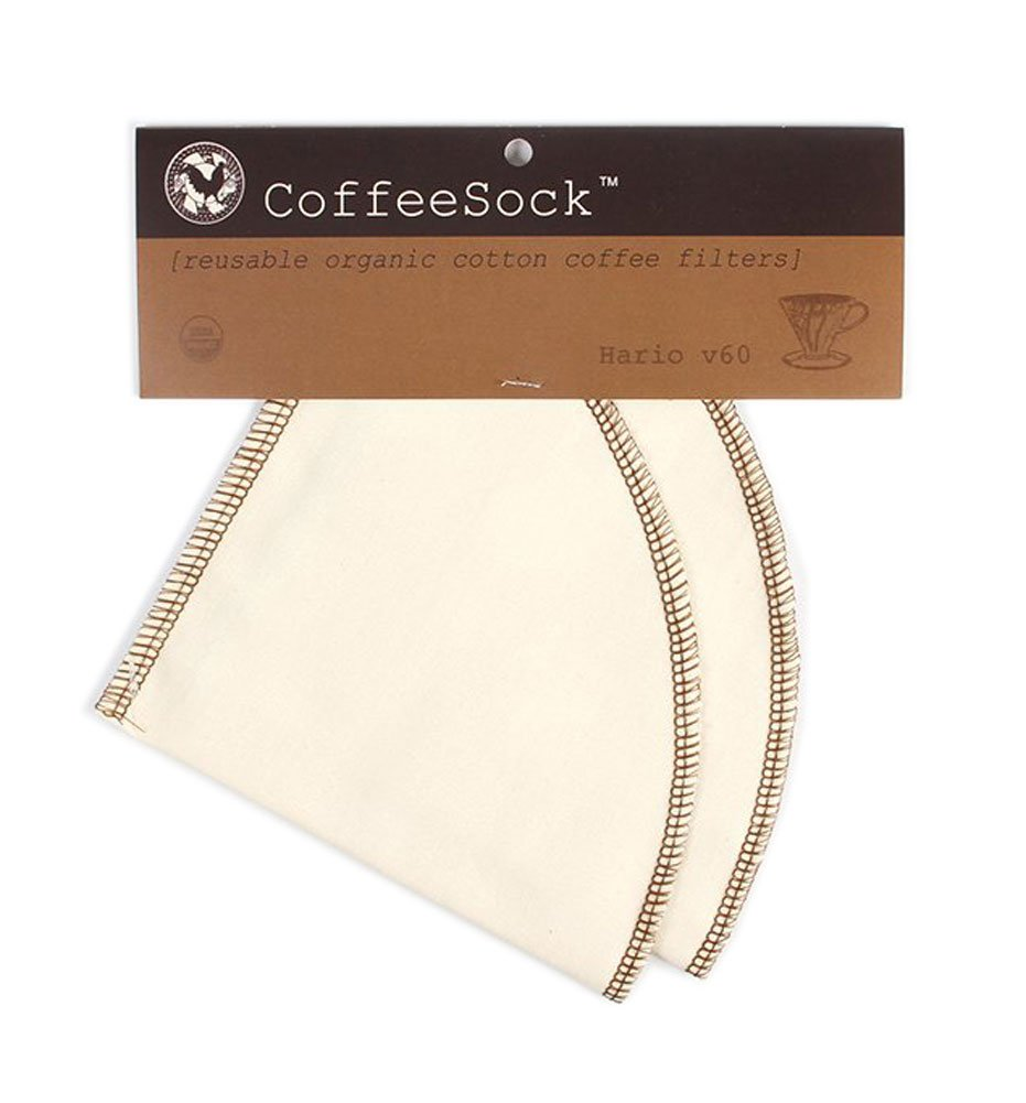 CoffeeSock Reusable Filters Made To Fit Hario v60-02 Style - GOTS Certified Organic Cotton Reusable Coffee Filters,Natural (V60-02)