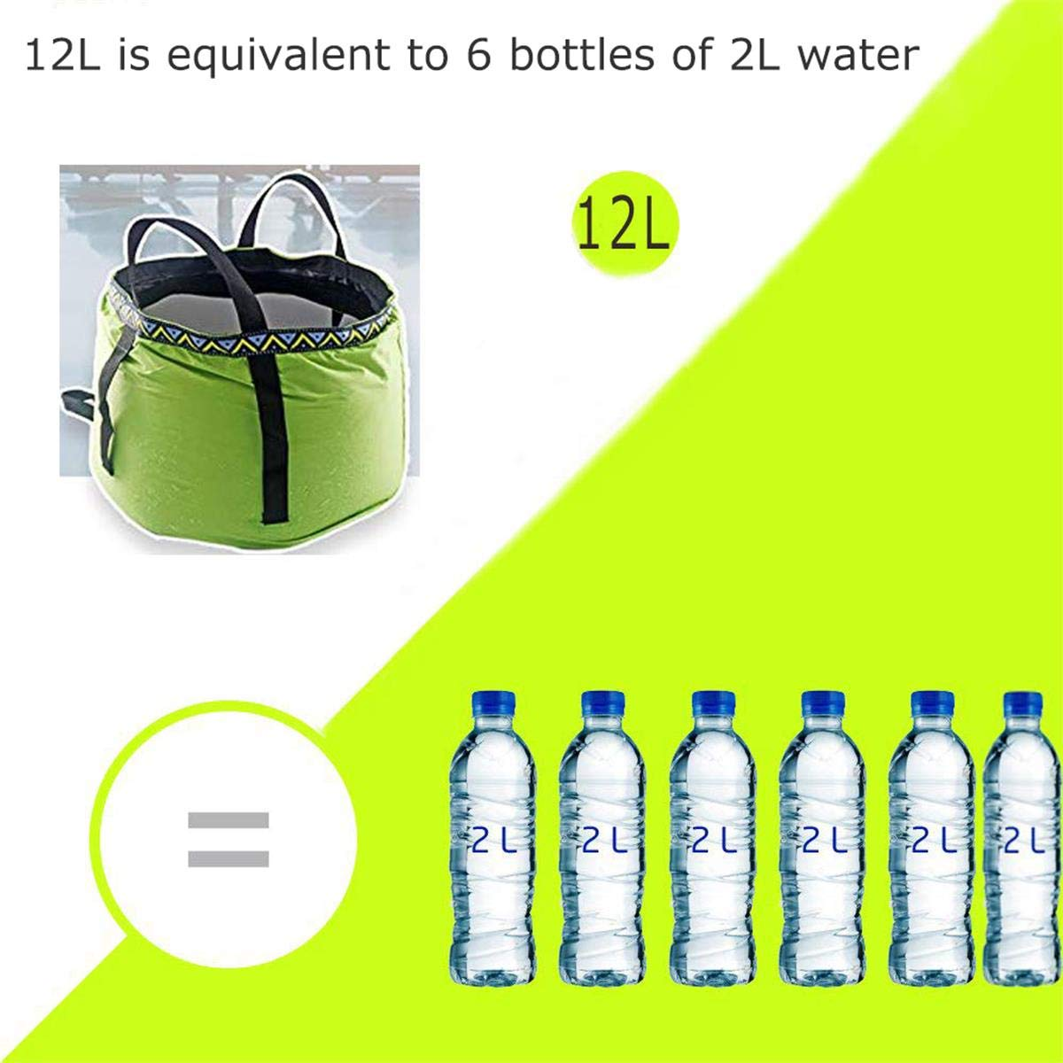 Lightweight and Durable Compact Collapsible Foldable Water Bucket Container for Camping Hiking Fishing Travelling etc. GKSELLING 12L Portable Folding Wash Basin