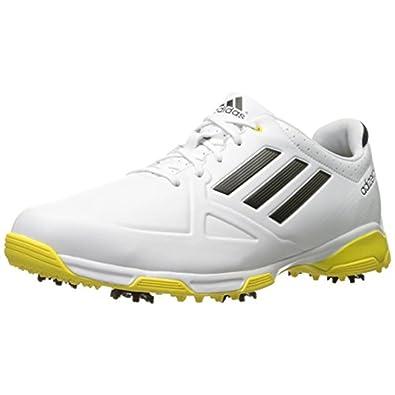adidas adizero Six Spike Mens Golf Shoes, White/Black/Yellow, 9 M