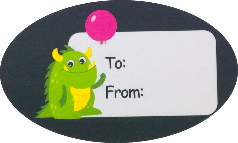 Monster Birthday Gift Tag Stickers 1 1/2 x 2 1/2 Inch 100 Adhesive Labels by InStockLabels.com (Image #5)