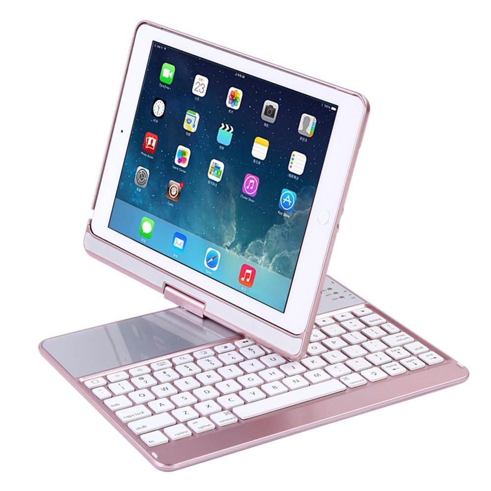 iPad Case with Keyboard for 2018&2017 New iPad 9.7''/Pro 9.7/Air2/Air,YOUNGFUN Bluetooth Wireless Keyboard Backlit Tablet Carrying Holder Auto Sleep/Wake Flip Rotate Slim Folio Smart Cover (Rose Gold)