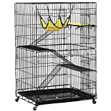 Yaheetech 4 Tier Cat Cage Large Rolling Kitten Cage - Metal Pet Playpen w/ 3 Ramp Ladders/2 Doors/Hammock Indoor Outdoor 32L x 22W x 48H Black