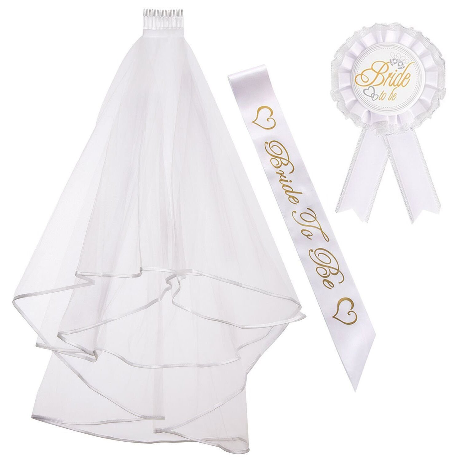 ResPai Bride To Be Sash Hen Do Night Out Bachelorette Party Accessories White Wedding Veil with Comb Satin Sash Bridal Badges Bridal Shower Decorations Set, 3 in 1