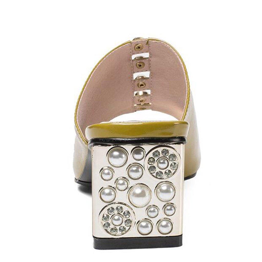 Eu39 Décontractées Été Taille Pantoufles Ouvert Sandales Chaussures Mode cn39 Femme couleur Bout Strass uk6 Lemon Rugueux À Yellow Talons qaqAx8HP
