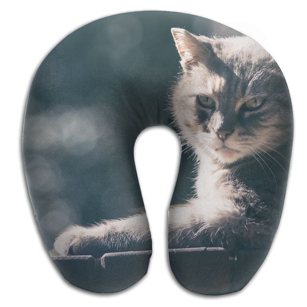 Laurel Neck Pillow Cat Wood Sunshine Travel U-Shaped Pillow Soft Memory Neck Support For Train Airplane Sleeping