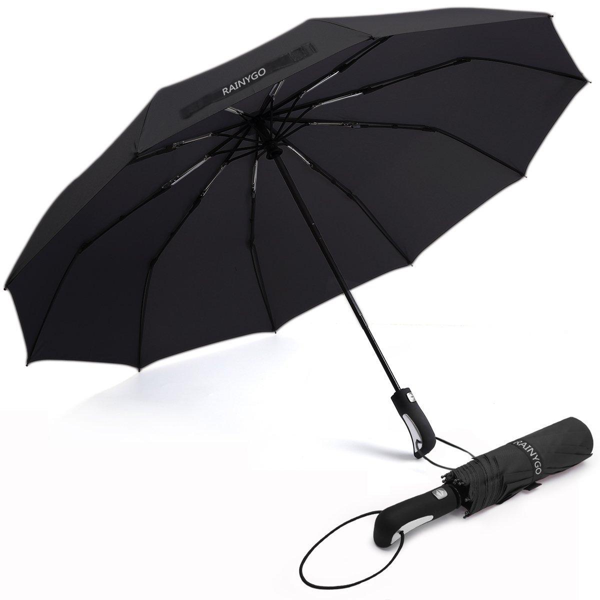 RAINYGO Umbrellas Travel Folding Automatic Umbrella Strong Windproof Compact 210T 10 Ribs Light Weight Auto Open Close