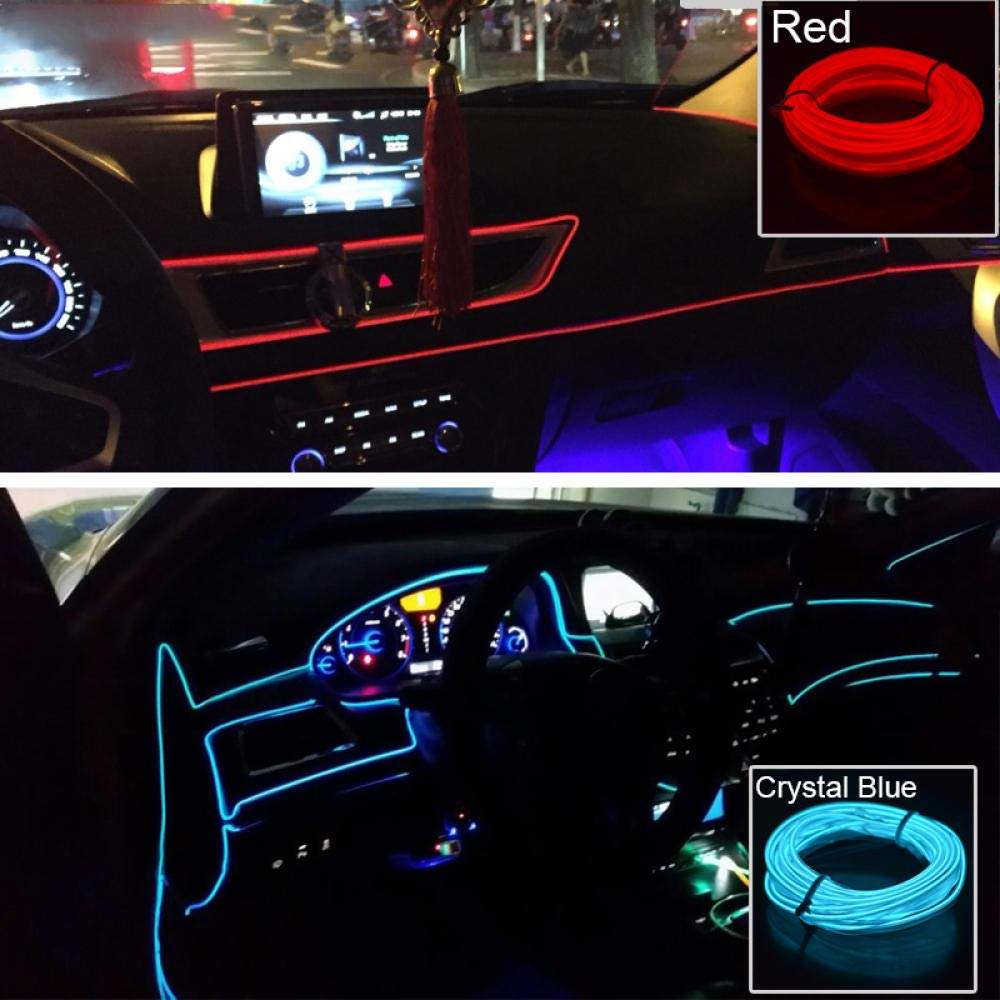 3m//5m Car LED Strips Decoration Strip 12V Flexible Neon EL Wire Rope Indoor Universal Interior Red-5m