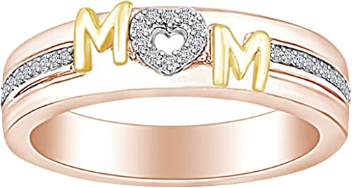 Amazon Com Cyber Monday Deals Mother S Day Jewelry Gifts 1 5 Carat White Natural Diamond Two Tone Mom Promise Ring In 14k Gold Over Sterling Silver 0 20 Cttw Jewelry