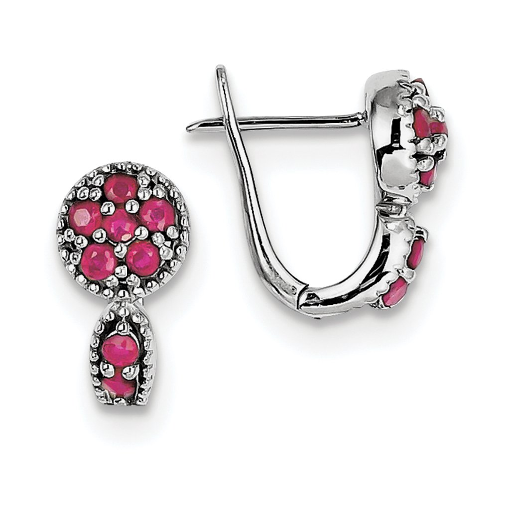 ICE CARATS 925 Sterling Silver Glass Filled Red Ruby Circle Hinged Hoop Earrings Ear Hoops Set Drop Dangle Fine Jewelry Gift Set For Women Heart