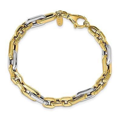 tecnicas modernas bien conocido primera vista Hermosa pulsera de eslabones pulidos de oro blanco y ...