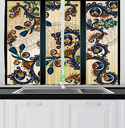 Ambesonne Abstract Kitchen Curtains, Paisley Batik Floral Design Ethnic African Hand Drawn Ornament Artwork, Window Drapes 2 Panels Set for Kitchen Cafe, 55W X 39L Inches, Navy Blue Orange Green