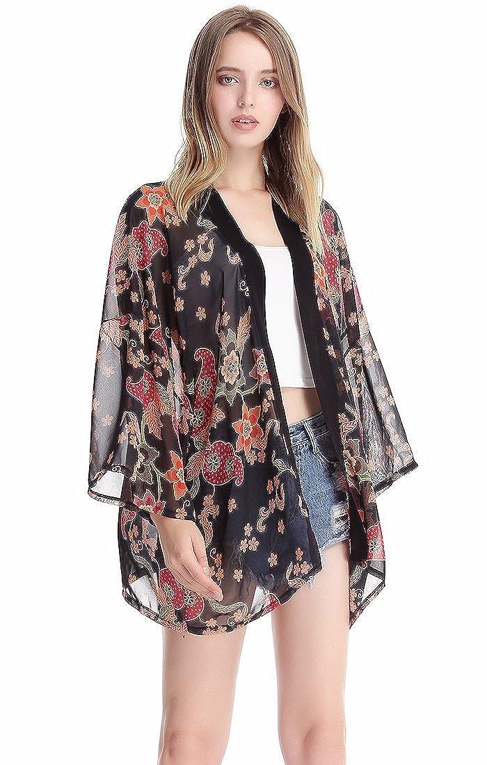 MissShorthair Womens Loose Chiffon Kimono Blouse Floral Print Cardigan Short Tops
