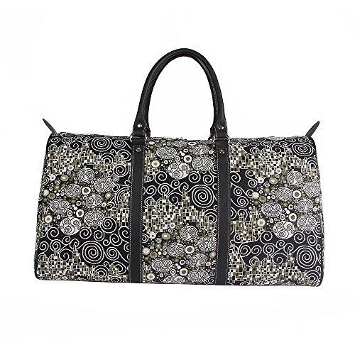 - Black & White Women's Tapestry Carry-on Overnight Weekender Duffel Travel Bag in Gustav Klimt Design (BHOLD-KISS)