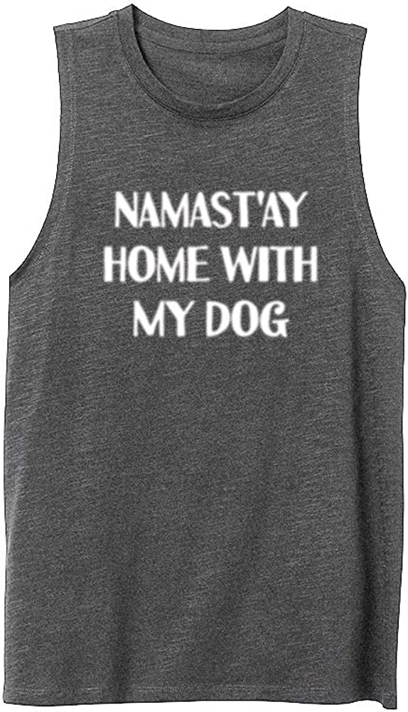 Womens Namastay at Home with My Dog Workout Casual Muscle Tank Vest Tops