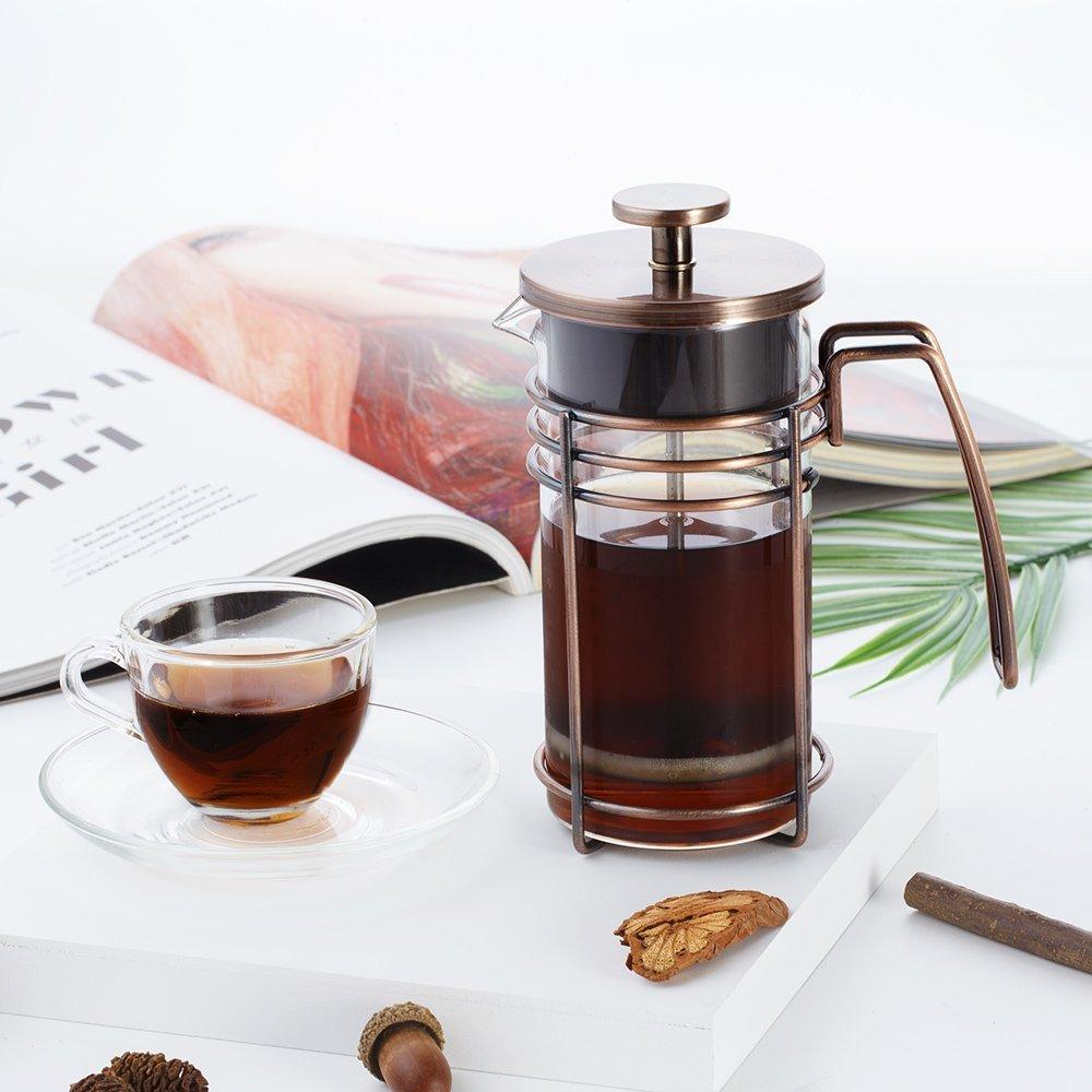 ZaKura French Press Coffee Maker, Tea Maker, Stainless Steel Filter, 350ml/12oz, Bronze.