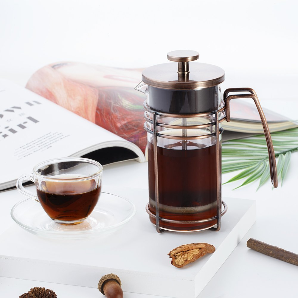 ZaKura French Press Coffee Maker, Tea Maker, Stainless Steel Filter, 350ml/12 Ounce, Bronze.