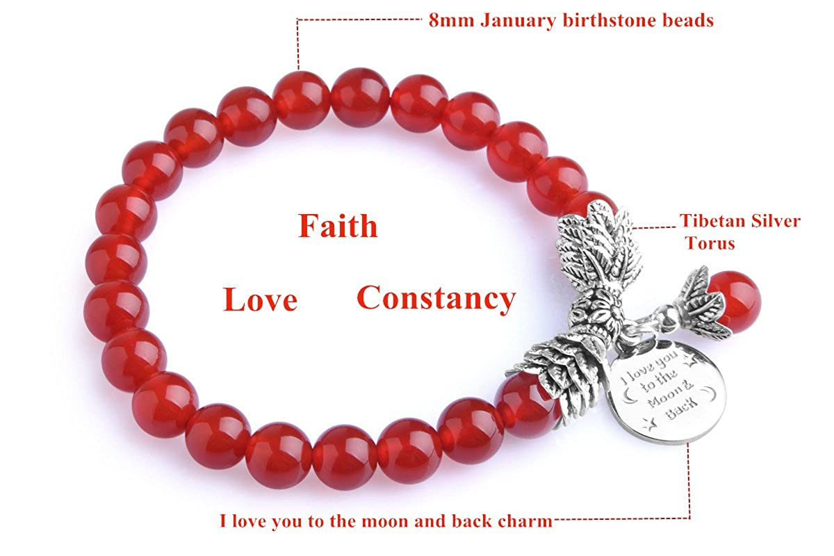 Amazon.com: Bella.Vida Womens January Birthstone Bead Bracelet with ...