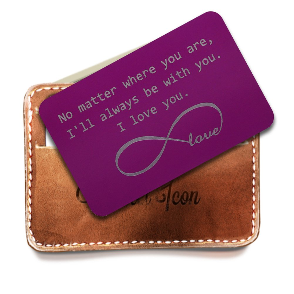 Personalized Stainless Steel Wallet Love Note Insert, Purple Metal Wallet Card, Infinite Love Symbol, I'll be Always be with You, Best gifts for Groom, Deployment Gifts for Him