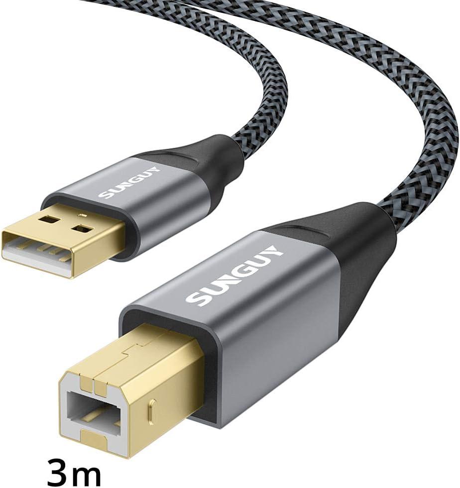 SUNGUY Cable USB de Impresora 3m Conector Chapado en Oro Largo ...