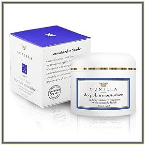 GUNILLA Deep Skin Moisturizer + Advanced Ceramides | Anti Aging, All-Day Hydration, 15 Soothing Botanicals, VIT-C, E, Zinc, 60% Super Aloe, Spa-Grade (2oz 60 Day) Made in USA