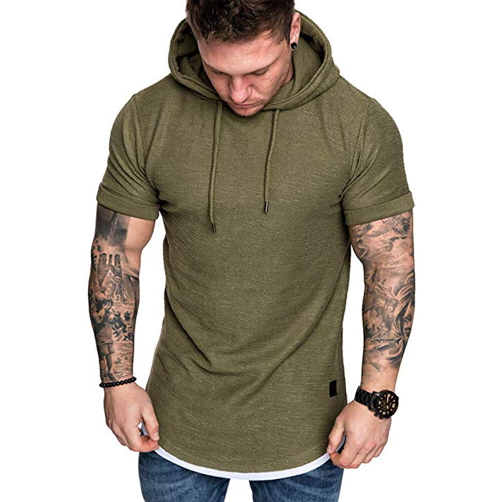 Gibobby Men's Slim Fit Solid Casual Pattern Short Sleeve Plus Size Pullover Hoodie Top Blouse Polyester Shirts Army Green