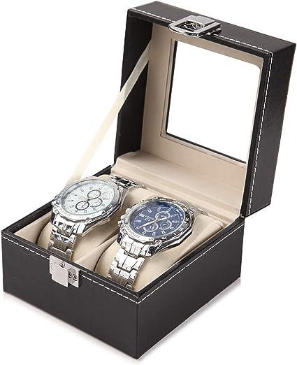 Caja de almacenamiento de relojes de piel con ranuras para 2/6/10 ...