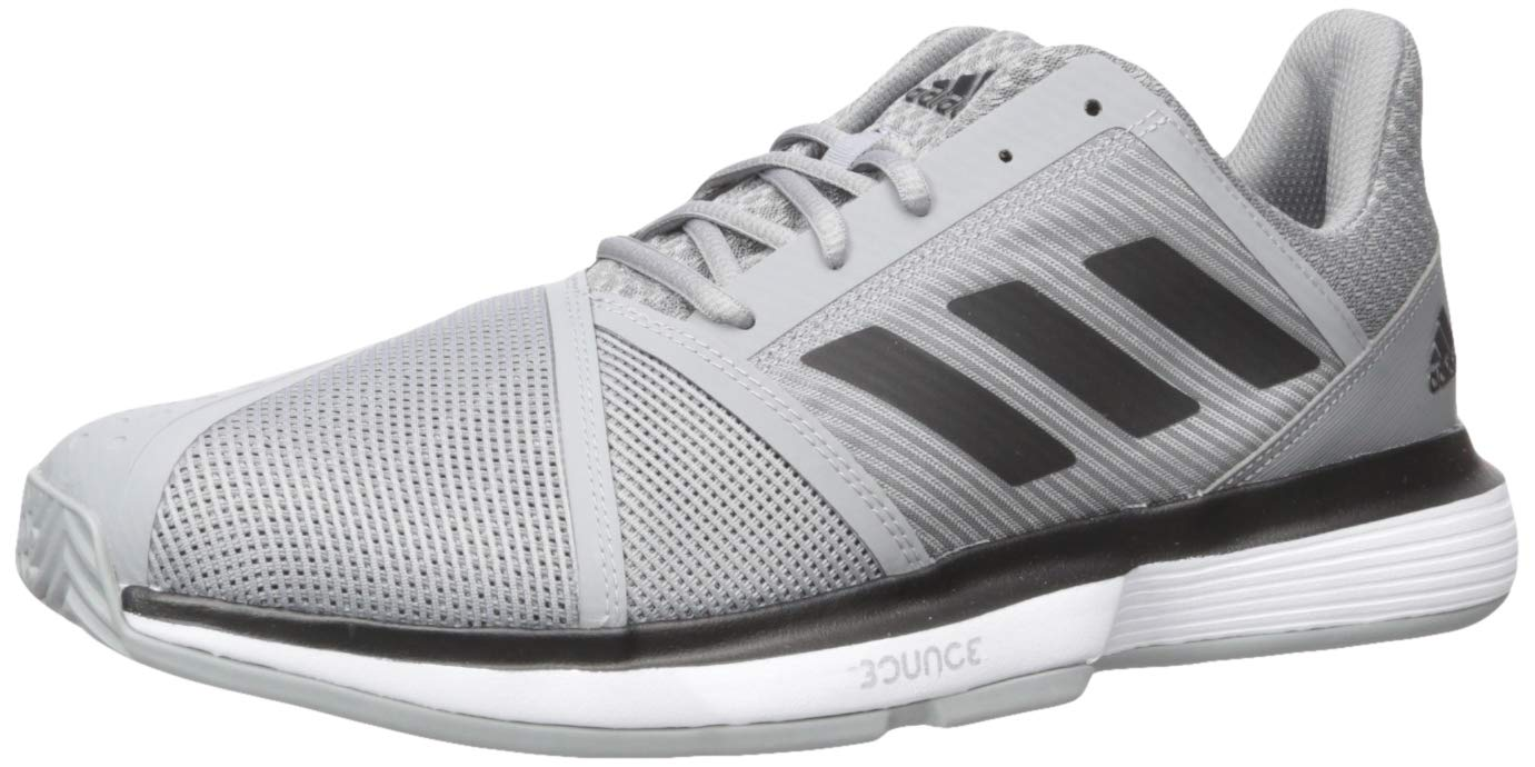 adidas Men's CourtJam Bounce Tennis Shoe, Grey/Black/White, 6.5 M US