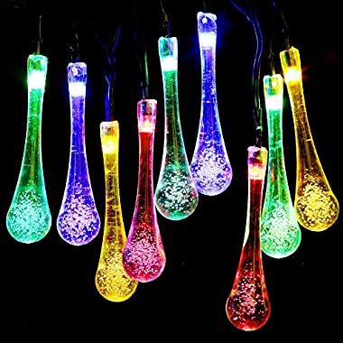 Solar Outdoor String Lights,GDEALER 20ft 30 LED Water Drop Solar String Fairy Waterproof Lights Christmas Lights Solar Powered String lights for Garden, Patio, Yard, Home, Christmas Tree, Parties