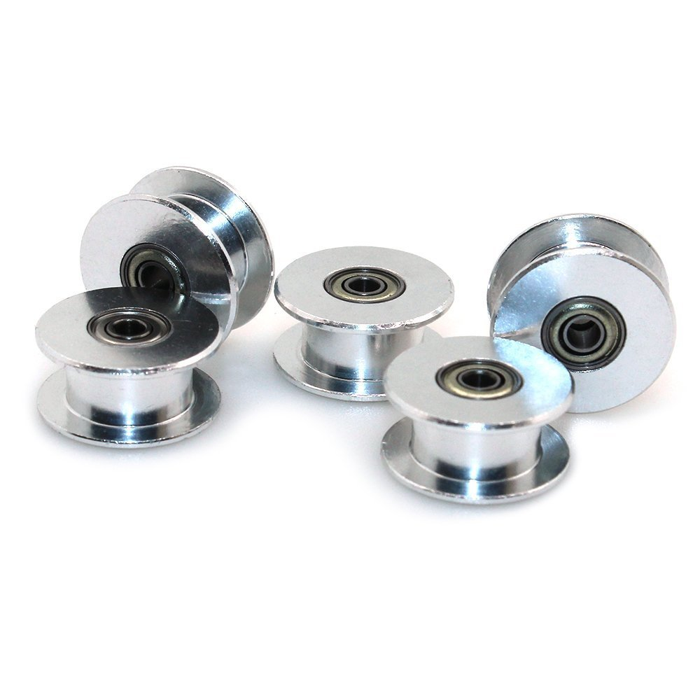 Samje GT2 idler Pulley 16 Toothless 3mm Bore Width 6mm Belt Pulley Aluminum Dual Ball Bearing Wheel (Pack of 5Pcs) (16 Toothless - 3mm Bore)