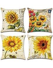 4 اغطية وسادة من ييفلين مقاس 18 × 18 بوصة مصنوعة من القطن الناعم الخفيف والكتان، مناسب للكنبة والسرير - بتصميم زهرة دوار الشمس