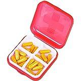 Arce Travel Portable Mini 4 Slots candy Colors Plastic Storage Box Small Kit Medicine Drug Pill Case(red)