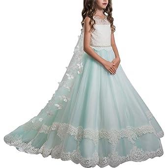 Vestido de niña de flores para la boda Niñas Niños Largo Gala cumpleaños Encaje De Ceremonia Fiesta Elegantes Comunión Paseo Baile Pageant Damas De Honor ...